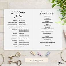 sweet bomb printable folded wedding order of service template connie joan