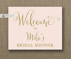 blush pink gold glitter welcome sign bridal shower wedding buffet food table sign printable