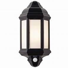 endon black polycarbonate pir sensor half lantern outdoor wall light