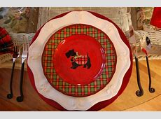 Christmas Tablescape with Plaid Napkins and Plaid Scottie