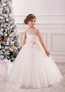 elegant white lace ball gowns tulle flower girl dresses for weddings girls pageant dresses 2016