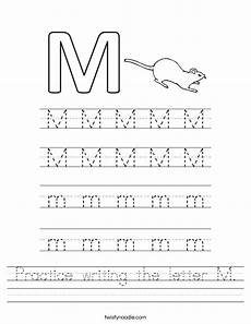 letter m picture worksheets 24312 practice writing the letter m worksheet twisty noodle