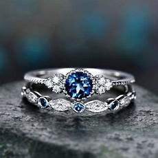 womens round cut sapphire engagement ring silver plate wedding band size6 10 ebay