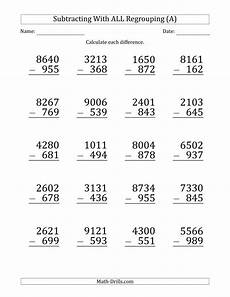large print subtracting 3 digit numbers with all regrouping a