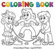 Coloring Book Kids Play Theme 1  Eps10 Vector
