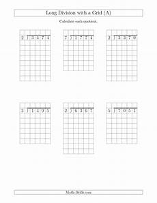 subtraction worksheets with grid lines 10162 division with grid assistance 4 digit by 1 digit with remainders a math worksheet