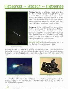meteor meteorite meteoroid worksheet education com
