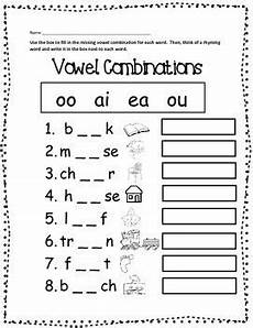 free vowel combinations printable worksheet first grade phonics phonics worksheets teaching