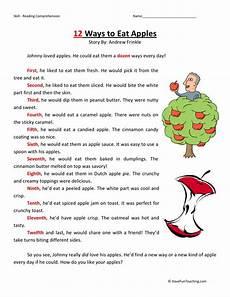 reading comprehension worksheet 12 ways to eat apples