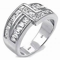 mens 925 sterling silver cz band ring