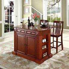 crosley furniture brown craftsman kitchen island with 2 stools at lowes com