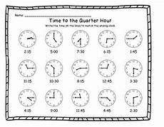 printable worksheets about telling time 3718 telling time to the quarter hour printable worksheets by kdgteacherabc