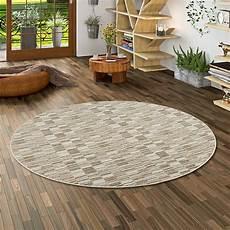 teppiche rund streifenberber teppich modern stripes beige rund
