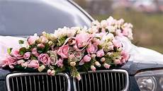 wedding car decorated with bunch of stock image