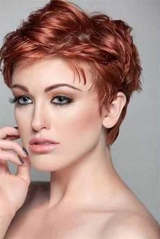 Rot Haarfarbe Kurzhaarfrisuren Damen 2017 Frisur Dicke