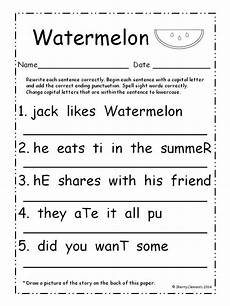 worksheets on punctuation and capital letters 20863 summer fix it up sentences july kindergarten writing grade lessons sentence writing