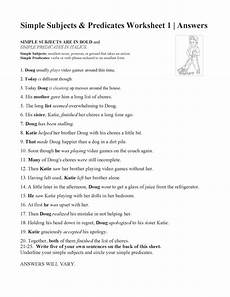 simple subjects and predicates worksheet 1 answers