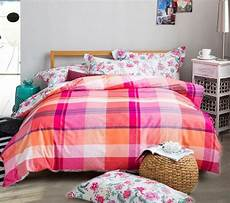 check pattern cotton bed sheets pink winter hardy thermal sanding bedding gift a pair of