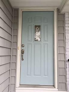 gossamer blue benjamin moore paint gray home white trim silver hardware painted front