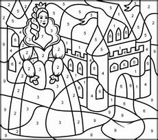 color by number princess coloring pages 18139 princess and castle printable color by number page avec images coloriage coloriage
