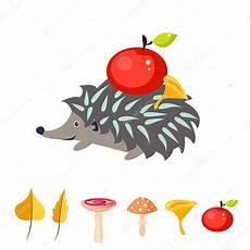Ausmalbilder Igel Mit Apfel Igel Mit Apfel Auf Dem R 252 Cken Stockvektor