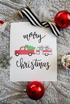 free printable merry christmas truck