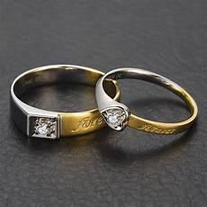 18k two tone gold diamond wedding band couple ring 0 04 0 07ct handmade engagement diamond