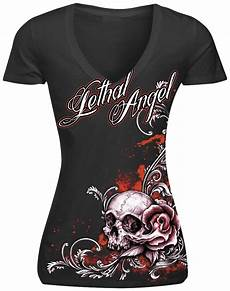lethal threat womens lethal floral skull t