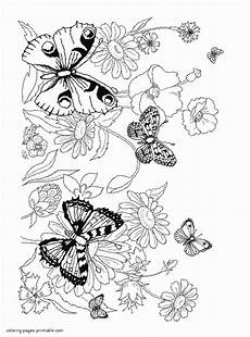 coloring pages flowers and butterflies coloring pages