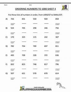 place value chart worksheets grade 4 5410 ordering numbers to 1000