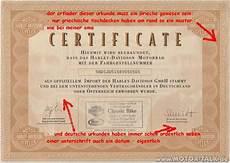 Harley Davidson Certification by Certificate Wie Erkennt Ein Us Import Harley