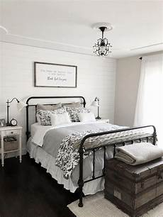 Bedroom Ideas Black Iron Bed by Modern Farmhouse Bedroom Decor Shiplap Accent Wall Black