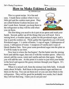 comprehension worksheets 15452 reading comprehension worksheet how to make eskimo cookies reading comprehension reading