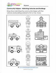 places in community worksheets 15955 community helpers matching vehicles buildings