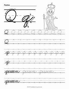 free printable cursive q worksheet cursive writing