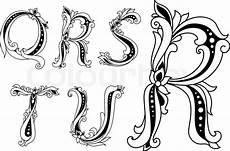 Buchstaben Verschnörkelt - floral capital letters q r s t and stock vector