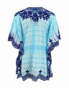 lyst taj embroidered blouse in blue taj short sleeve v neck embroidered tye dye tunic in blue lyst