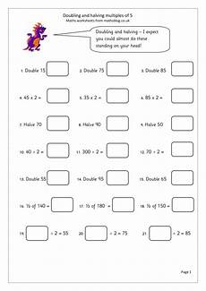 doubling and halving multiples of 5 worksheet for 3rd
