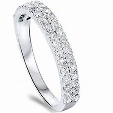 1 4ct double row diamond wedding ring 14k white gold womens band pave ebay