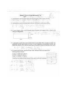 science worksheets on density 12177 mass volume and density pdf science 8 density calculations worksheet name 1 a student measures