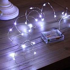 micro battery fairy lights on silver wire 20 white leds