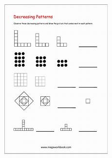 pattern worksheets for kindergarten color patterns growing patterns decreasing patterns