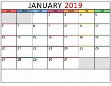 january 2019 calendar printable templates january calendar medium
