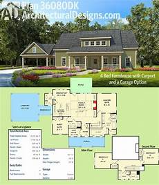 house plans with carports plan 36080dk 4 bed farmhouse with carport and a garage