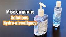 mise en garde solutions hydro alcooliques gel