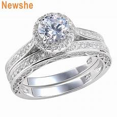 newshe wedding engagement ring for 2 5ct sterling silver cz 5 12 ebay