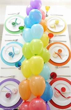 Rainbow Tablescape Diy Balloon Garland In 2019 Rainbow