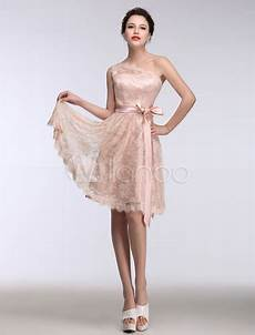 pink bridesmaid dress lace one shoulder prom dress