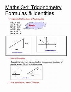 trigonometric equations formulas math34 trigonometric formulas