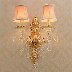 satin gold wall sconce with fabric shade modern led crystal wall lighting hotel wall ls gold
